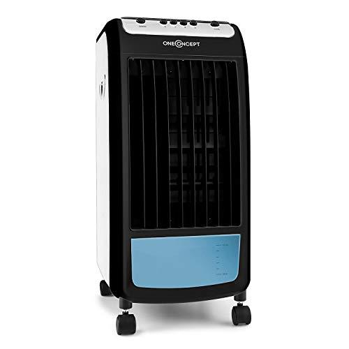 oneConcept Carribean Blue - Luftkühler mit Luftreinigungs- und Befeuchtungsfunktion, 3 Geschwindigkeitsstufen, 4 Liter Wassertank, stromsparende 75 W, 400 m³/h, inklusive Eispack, blau-pianoschwarz