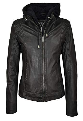 COCO BLACK LABEL since1986 Damen Lederjacke Quinn mit Kapuze aus Lammnappa Leder im Biker -Look, Farbe:Schwarz, Größe:40