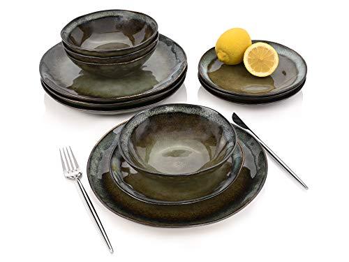 Tafelservice Asti 12 teiliges Geschirr-Service für 4 Personen aus Steingut, Speise-, Dessertteller und Schalen, modern, Alltag, Familienessen, Dinner, Frühstück, Outdoor Teller Set von Sänger