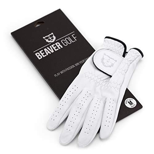 BEAVER GOLF Damen Golf Handschuh weiß - Premium Cabretta-Leder - maximale Qualität - nachhaltig - Handarbeit (XS, Links (Rechtshänder))