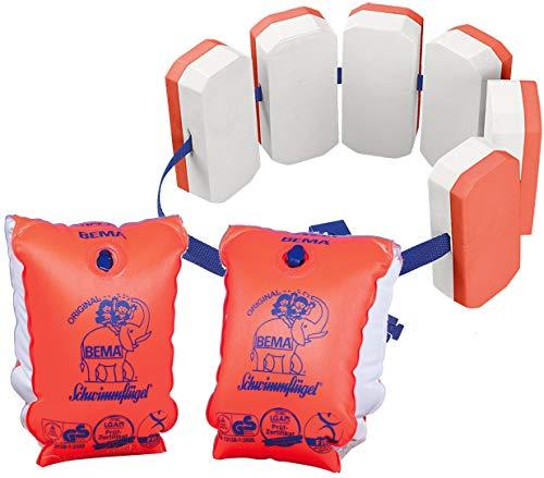 Bema® Kinder Schwimm Gürtel Orange Schwimmweste Baby Lern Hilfe Baden Manschette (6 Auftriebskörper + Schwimmflügel) beides 6-12 Jahre