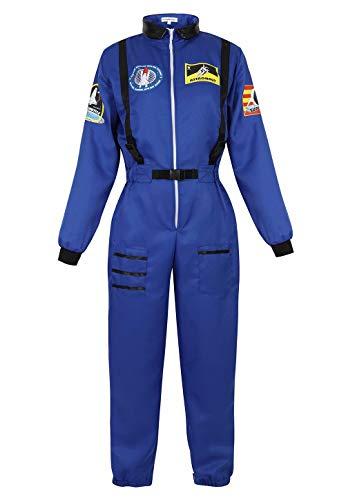 jutrisujo Astronauten Kostüm Erwachsene Damen Kostüm Astronaut Weltraum Raumfahrer Halloween Cosplay Blau L