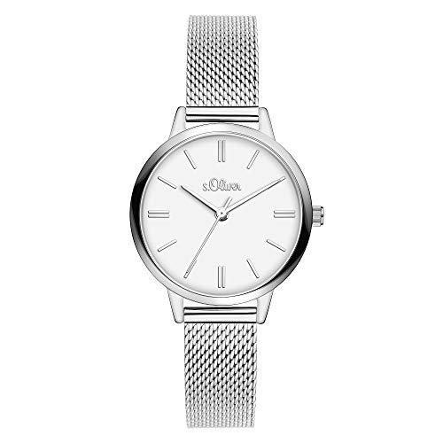 s.Oliver Damen Analog Quarz Armbanduhr mit Edelstahlarmband SO-3804-MQ