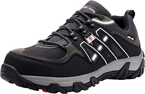 LARNMERN Sicherheitsschuhe Arbeitsschuhe Herren, Sicherheit Stahlkappe Stahlsohle Anti-Perforations Luftdurchlässige Schuhe, Schwarz L1032, 48 EU
