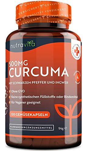 Curcuma Extrakt Kapseln - Curcumingehalt EINER Kapsel entspricht dem von ca. 25.000mg Kurkuma (95% Extrakt) - 120 Kapseln - Laborgetestet - Hochdosiert - Vegan - Mit schwarzem Pfeffer & Ingwer