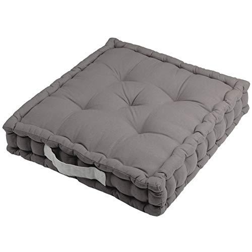 Sitzkissen Uni aus Baumwolle (170g/m2) - 45x45x10cm - Bodenkissen, Stuhlkissen, Sitzerhöhung (Grau / Anthrazit)