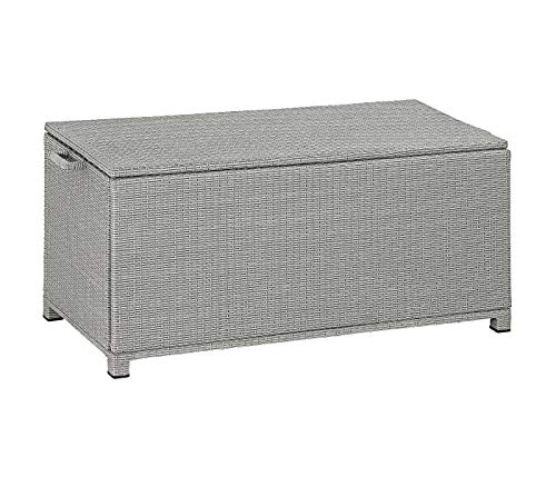 Dehner Aufbewahrungsbox Tessin, ca. 130 x 60 x 60 cm, Kunststoffgeflecht/Aluminium, grau