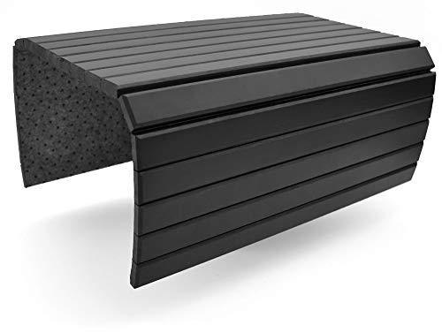 D&D Living® Sofatablett   Flexible Couch Ablage für Armlehne aus natürlichem Holz (Unterlage mit 50x35 cm, Schwarz)