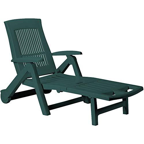 Casaria Sonnenliege Zircone Kunststoff Rollen verstellbare Rückenlehne klappbar Gartenliege Rollliege Liegestuhl Grün