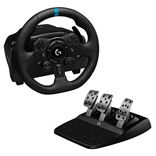 Logitech G923 TRUEFORCE Gaming Rennlenkrad mit Pedalen, Kraftrückkopplung bis 1000 Hz, reaktionsschnelles Fahren, Doppelkupplungssystem, Echtleder Lenkrad, für PS5, PS4, PC, Mac - Schwarz