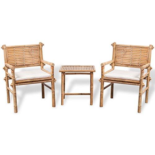 vidaXL Bistroset 3-TLG. mit Auflagen Balkonset Sitzgruppe Gartenset Balkonmöbel Gartengarnitur Sitzgarnitur Gartenmöbel Tisch Stühle Bambus