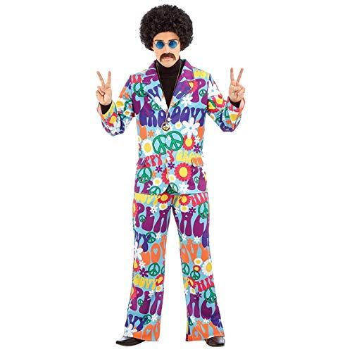 Fun Shack Lila Hippie Kostüm für Herren, 70er Jahre Anzug, Faschingskostüm Erwachsene - L