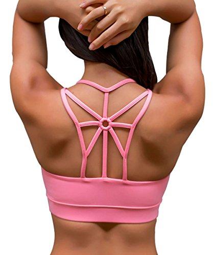 YIANNA Damen Gepolsterter Sport BH Ohne Bügel Komfort Bustier Atmungsaktiv Klassische Fitness Yoga BH Top Push Up Rosa,YA139 Size XL