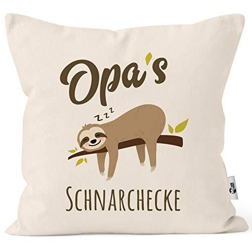 MoonWorks® Kissen-Bezug Spruch Opa's Oma's Mama's Papa's Schnarchecke Faultier Print Kissen-Hülle Deko-Kissen Baumwolle Opa Natur Unisize