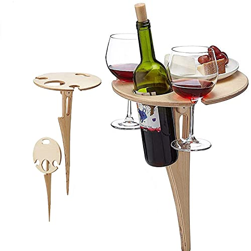 Outdoor-Wein-Tisch, hölzerner Bierhalter tragbarer Faltbarer Picknicktisch Mini Gartenmöbel für Garten, Garten, Camping, Strand