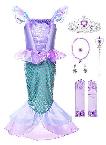 JerrisApparel Mädchen Prinzessin Meerjungfrau Kostüm Halloween Party Kleid (Lila mit Zubehör, 4 Jahre)