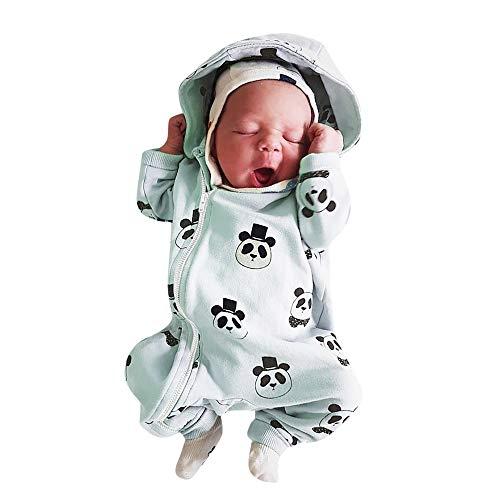 Covermason Babykleidung Neugeborene Strampler, Säuglingsbaby Mädchen Junge Strampler mit Kapuze Overall Karikatur Panda Jumpsuit mit Reißverschluss (0-6M, Grün)