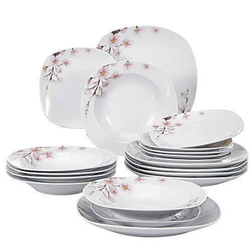 VEWEET Tafelservice 'Annie' aus Porzellan 18 teilig   Tellerset für 6 Personen   Mit je 6 Dessertteller, Tiefteller und Flachteller