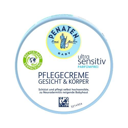 Penaten Baby Ultra Sensitiv Pflegecreme Gesicht & Körper parfümfrei, Babypflege Cremefür Neugeboreneohne Farbstoffe, 100 ml