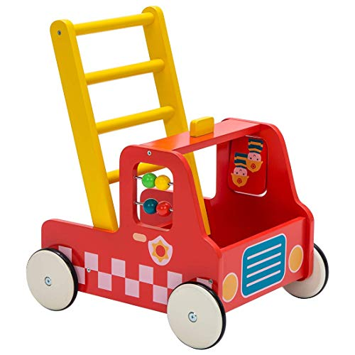 Kinder Lauflernwagen Holz Baby Lauflernhilfe Feuerwehrauto Junge Push Pull Spielzeug Multifunktion Wagen ab 1 Jahre