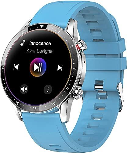 Musik Smartwatch Bluetooth Anruf Intelligente Sportuhr mit Herzfrequenzmesser, Schlafmonitor, 1,3 Zoll Touchscreen Anrufbenachrichtigung für Android Ios