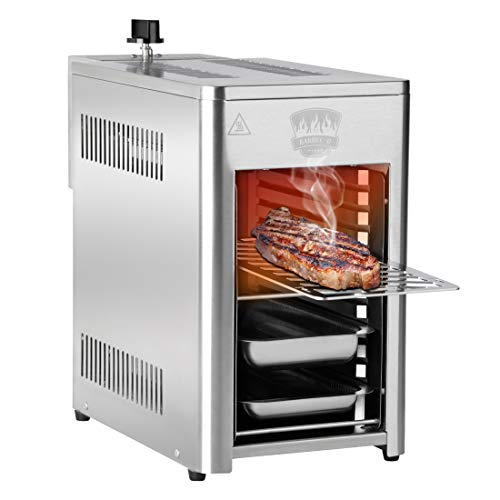 Barbec-U Hochleistungsgrill 800 Grad Pure Steak-Grill, Beefer Grill, Oberhitzegrill, Edelstahl inkl. Grillrost, Auffangschale, Warmhalteschale, 3,4 kW, 10 Grillebenen, elektr. Zünder
