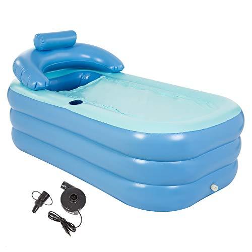 HIRAM Aufblasbare Badewanne Spa-Badewanne Aufblasbare Pool mit Pumpe für Erwachsene Reise Wanne PVC Klappbar Bathtub