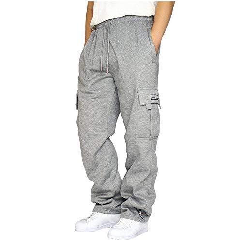 Hanomes Jogginghose Herren Baumwolle Beinabschluss mit Taschen Breite Beine Jogger Cargo Hose Sporthose Fit Mode Sporthose für Männer Trainingshose Freizeithose Loose Sweatpants
