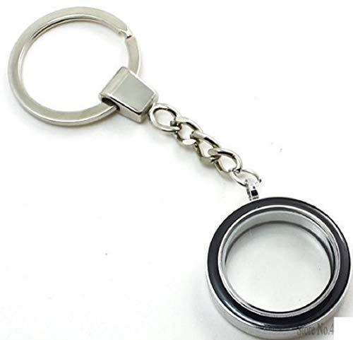 Leer Glas Schlüsselanhänger für Fotos aus Metall und Glas 3cm zum aufschrauben und individuell gestalten schwarz   Fotoschlüsselanhänger   Geschenk für Frauen   Männer   Foto Anhänger  