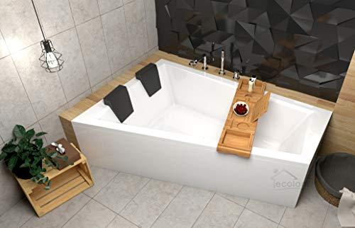 ECOLAM Badewanne Intima Duo Eckwanne für Zwei 180x125 cm LINKS + Ablage Bambus + Schürze aus Acryl + 2x Kopfstütze Ab- und Überlauf Automatik Füße Silikon Komplett-Set - PERFEKT FÜR ZWEI PERSONEN
