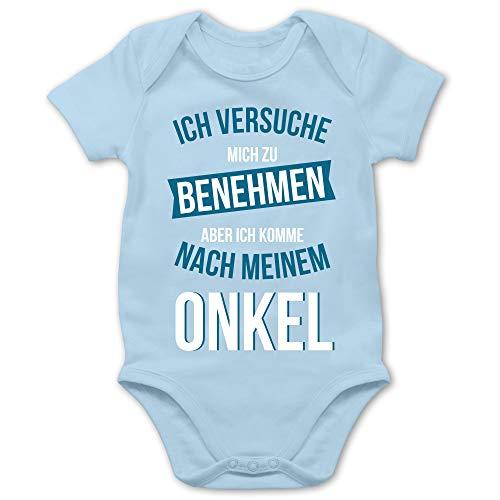 Statement Sprüche Baby - Ich versuche Mich zu benehmen Aber ich komme nach Meinem Onkel - 1/3 Monate - Babyblau - Mein Onkel ist der Beste - BZ10 - Baby Body Kurzarm für Jungen und Mädchen