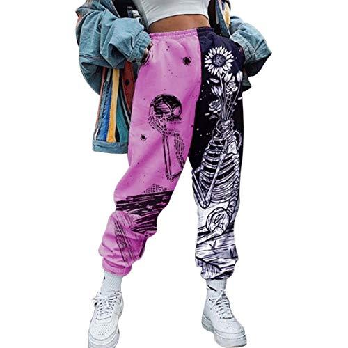 Shujin Damen Jogginghose Cargo Sporthose Farbblock Elastischer Bund Sweatpants Loose Fit Baggy Trainingshose Freizeithose Yogahosen mit Taschen(Violett,M)