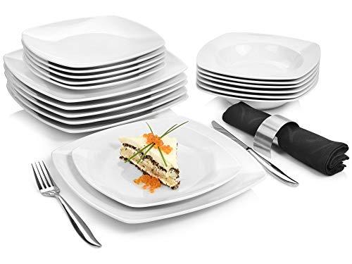 Tafelservice Markant 18 teiliges Geschirr-Service für 6 Personen aus Porzellan, Speise-, Dessertteller und Schalen, erweiterbar, Alltag, besonderes Dinner, klassisches Hochzeits Teller Set von Sänger