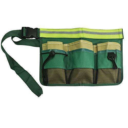OLRWSLG Werkzeuggürtel Oxford Gartenwerkzeug Tasche mit verstellbarem Gürtel Gürteltaschen für Werkzeuge, Multi Fächer Werkzeugtasche für Elektriker, Tischler, Handwerker (Grün)