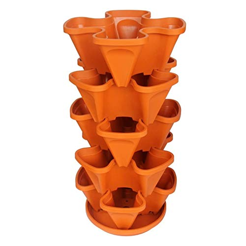 Erdbeerpflanzer 4 Töpfe Komposttöpfe,Pot-Stapel-Topf für Kräuter-Blumen-Bettwäsche Stapelbarer Pflanzer Vertikaler Garten für Wachsende Erdbeeren, Gemüse 5 Tier-Gartenturm-Kunststoff mit Tablett