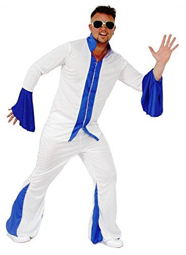 Foxxeo Weißer Disco Anzug Herrenkostüm 70er Jahre Overall Jumpsuit Kostüm Disco für Herren Größe L