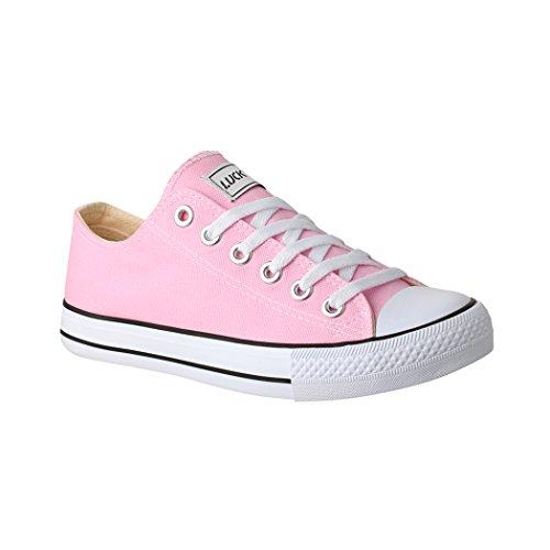 Elara Lucky-Z Unisex Sneaker Textil Turnschuh Low top Chunkyrayan 089-A Pink-39