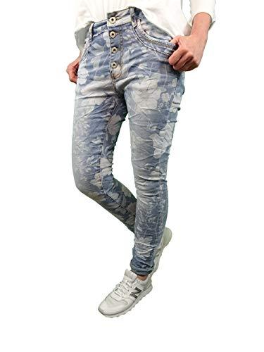 Jewelly Stretch Jeans| im Baggy Boyfriend Schnitt| Damen Hose mit Knopfleiste und Blumen Print (Denim Leaves, XS)
