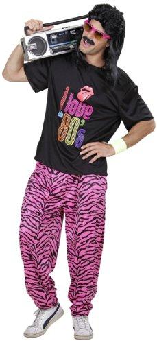 Widmann 9886R - Kostüm 80er Jahre, T-Shirt und weite Hose, 80ties, Bad Taste Party, Mottoparty, Karneval