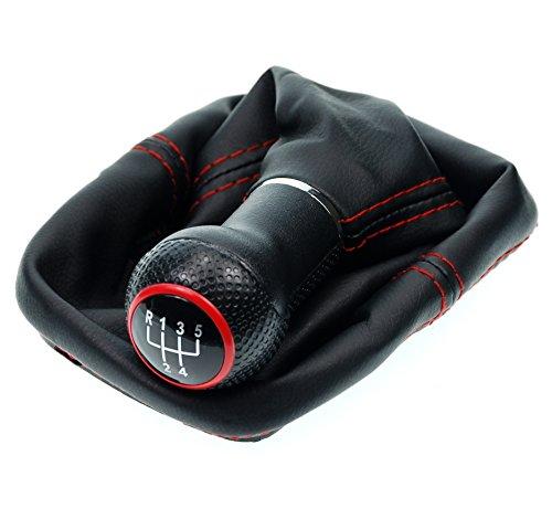 L & P Car Design L&P A254-1 Schaltsack Schaltmanschette Schwarz Naht Rot Schaltknauf 5 Gang 12mm kompatibel mit VW Golf 4 IV Knauf GTI Look als Plug Play Ersatzteil für 1J0711113