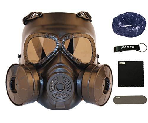 haoYK taktische Gas-Gesichtsmasken-Attrappe M04 mit getönten Gläsern, Anti-Nebel, mit doppeltem Ventilator, Schutzzubehör für Airsoft und Paintball, Schwarz