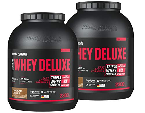 Body Attack Extreme Whey Deluxe, Eiweißpulver mit Aminosäuren, Triple-Whey-Complex, CFM Whey Isolate, perfekt lösliches Protein-Pulver, fettarm, zuckerarm, Made in Germany, Chocolate Coconut, 2x2,3 kg