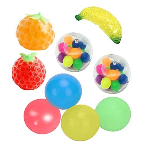 Stress Relief Balls Sticky Ball, Sensory Fidget Toys Set,9PCS Sticky Wall Balls Dekompressionsspielzeug Quetschen, Farbe Sticky Globbles Ball, Klebrige Wand Ball für Kinder Adults Geschenk