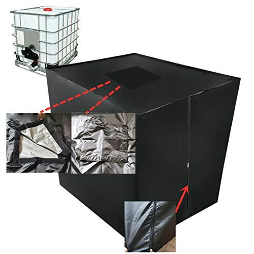 coil-c IBC Container Abdeckplane | Wassertank Abdeckplane | IBC-Abdeckung UV-Schutz Folie Mit Lochauschnitt In Schwarz Tankgröße 1000L IBC