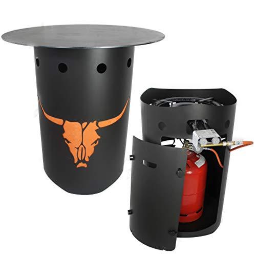 Feuertonne mit Gas Gasbetrieben Feuerschale Feuerplatte Paella Gasbrenner LED (Feuerplatte 80cm 5mm ohne Loch #463)