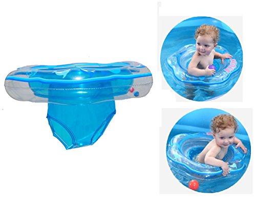 Baby Schwimmring, Schwimmsitz für Baby Aufblasbarer Schwimmtrainer Schwimmhilfe Schwimmreifen für Kleinkind von 6 Monate bis 3 Jahre mit 2 Luftkamme (Blau)