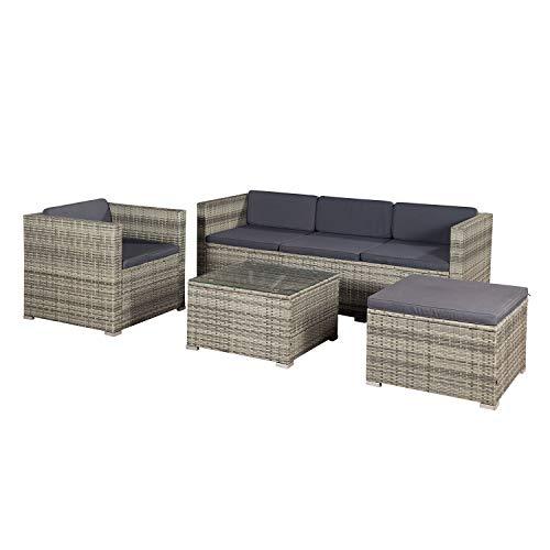 ArtLife Polyrattan Lounge Punta Cana L grau-meliert mit Bezügen in Dunkelgrau | Sitzgruppe mit Tisch für 4-5 Personen | Gartenmöbel - Set