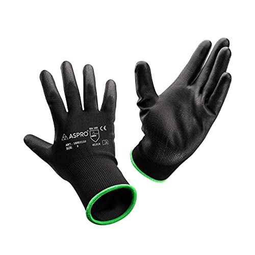 ASPRO Arbeitshandschuhe 20 Paar Größe 8 (M)- Gartenhandschuhe-Schwarze Nylon-Handschuhe mit PU-Beschichtung für Bauarbeiter, Gärtner, Mechaniker, Bauarbeiter, Lagerarbeiter etc.