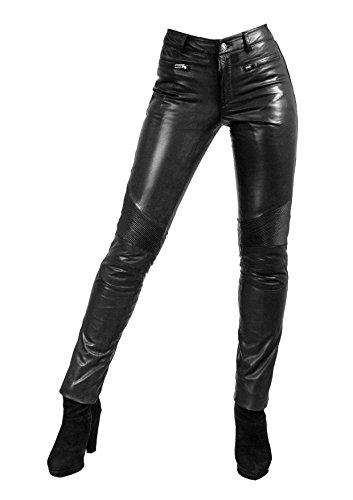Unbekannt Yonna Damen Lederhose aus echtem Lamm Nappa Leder in diversen Farben (Schwarz, L)