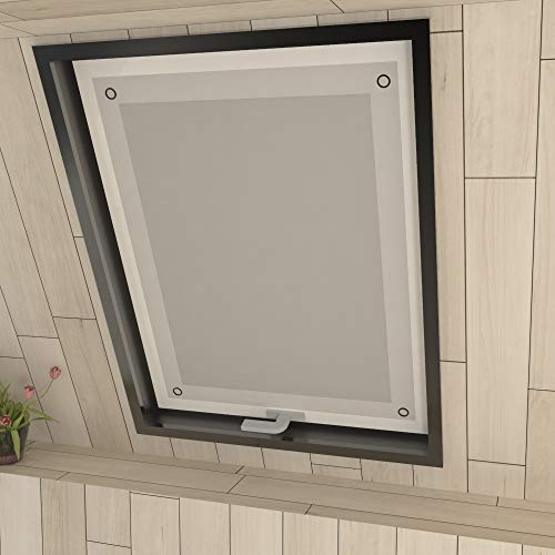 Eurohome Thermo Dachfenster Rollo ohne Bohren Sonnenschutz Verdunkelungsrollo mit Saugnäpfen für Velux Fenster Weiß 60 x 93 cm